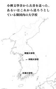 小樽文学舎から古書を送った、あるいはこれから送ろうとしている韓国内の大学校